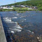 幸せ橋から眺める旭川の川瀬