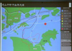 赤丸が操南地区、干拓yの歴史が示されている