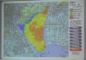 百間川上流堤防決壊による被害予測