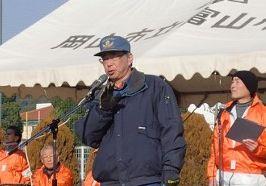 岡山市消防団富山分団・岡分団長の訓示と訓練説明