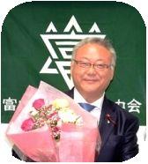 浦上市議会議長に就任祝いの花束贈呈