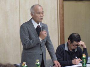 会議の主旨を説明する有松会長